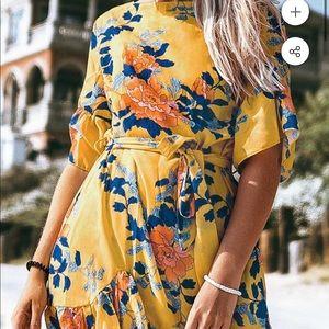 Cupshe yellow floral printed ruffled mini dress